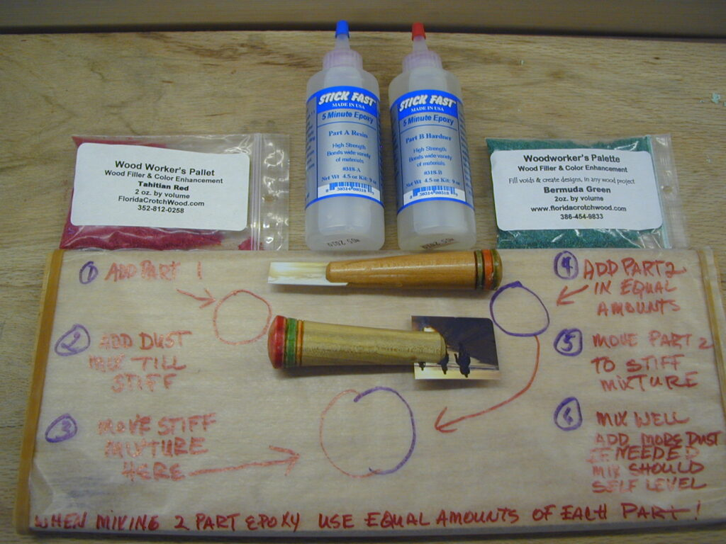 Components for mixing the 2-part epoxy
